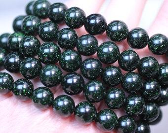 Green Goldstone 10 mm Round Stretchy String Bracelet G153