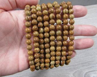 Wood Lace 6 mm Round Stretchy String Bracelet G280