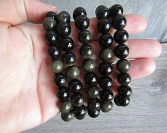Obsidian 10 mm Round Bracelet Stretchy String G93
