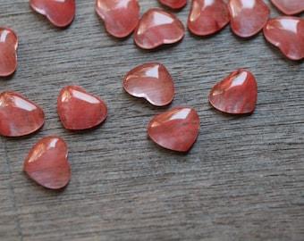 Cherry Quartz Small Heart Stone with Flat Back K257