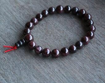 Garnet, Buddha Mala Bracelet 8mm Bead G227