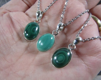 Malachite Sterling Silver Pendant with Stainless Steel Chain P74