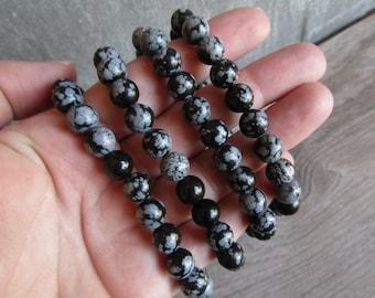 Snowflake Obsidian 8 mm Round Bracelet Stretchy String G45