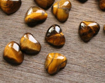 Tiger Eye Small Stone Shaped Heart with Flat Back K268