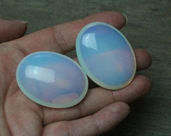 Opalite Flat Oval Palm Stone Small E61