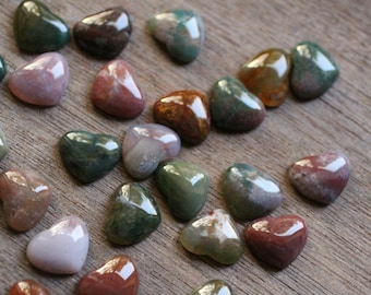 Moss Agate Small Stone Shaped Heart with Flat Back K258
