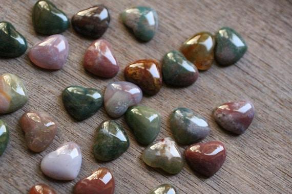 Moss Agate Heart Stone