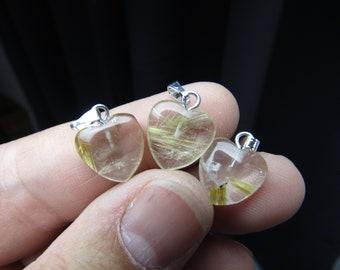 Rutilated Quartz Small Heart Pendant P27