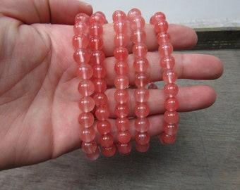 Cherry Quartz 8 mm Round Stretchy String Bracelet G255