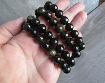 Sheen Obsidian 10 mm Round Bracelet Stretchy String G72