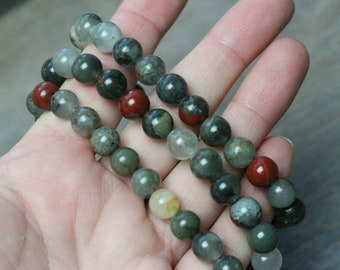 African Bloodstone Stretchy String 8 mm Round Bead Bracelet g69
