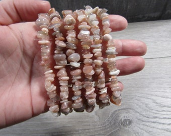 Peach Moonstone Stretchy String Bracelet G184