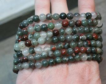 African Bloodstone Stretchy String 6 mm Round Bead Bracelet G71