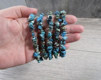 Chrysocolla Stretchy String Chip Bracelet G239