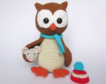 Owl Helga with Mouse - Amigurumi Crochet Pattern / PDF e-Book / Stuffed Animal Tutorial