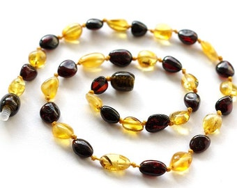 Baltic Amber Baby Teething Necklace, Dark Cherry and Lemon Olive Form Beads