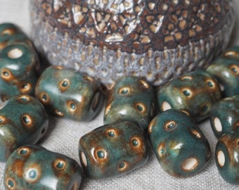 8.5mm x 9.5mm Handcrafted Artistic Clay Beads Brown Barrel Bead with White Spiral Design- 2mm Holes approx 44 beads Sold by the Strand