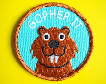 Gopher It Patch, Iron On Patch, Embroidered Patch, Cute Animal Patches, American Animal Patch, Motivational Patch, Fun Patches, Pun Patch