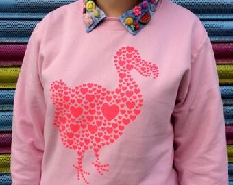 Dodo Jumper, Neon Pink Sweater, Baby Pink Jumper, Bird Jumper, Love Jumper, Girls Sweater, hello DODO Jumper, Cute Sweatshirt Pink