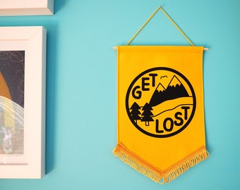 Get Lost Pennant Flag Adventure Wall Hanging