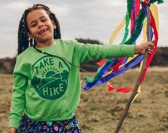 Take a Hike Kids Adventure Sweatshirt in Green