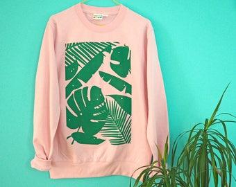 Plants Pink Jumper, Baby Pink Sweater, Cute Screenprinted Jumper, Plant Sweater, Cheese Plant Sweater, Monstera Leaves Print,Fun Pink Jumper