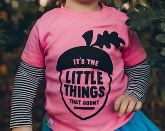 Autumn Baby T-shirt in Pink 'It's The Little Things That Count'