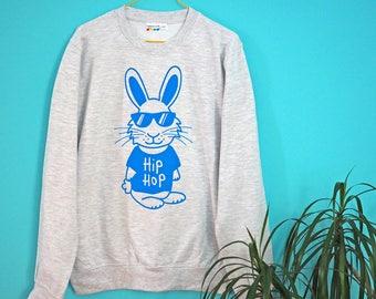 Hip Hop Bunny Jumper, Funny Rapper Sweater, Grey Sweatshirt Blue Rabbit, Screenprinted Sweater, Unisex Jumper, Men's Hip Hop Clothing