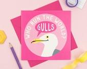 Seagull Birthday Card Feminist