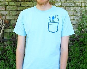 Artist Pocket T-shirt, Cute Screenprinted Pale Blue tee, Pocket T-shirt, Art T-shirt, Stationery Geek Tshirt, Pencil T-shirt