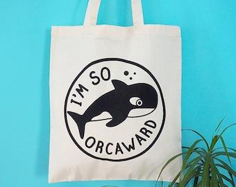 Whale Tote Bag, Funny Animal Tote Bag, Orca Tote Bag, Illustrated Tote Bag, Screenprinted Bag, Cotton Shopper, Orcaward Tote, Geek Tote