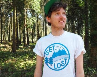 Get Lost T-shirt, Adventure Tee, Explore Shirt, Mountain Tshirt, Screenprinted Tshirt, Twin Peaks Tshirt, Unisex Tee, Funny Tshirt, Hike Tee