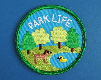 Park Life Patch, Iron On Patch, Dog Patch, Country Patch, Animal Patch, Cute Embroidered Patch, Tree Patch, Funny Iron On Patch, Adventure