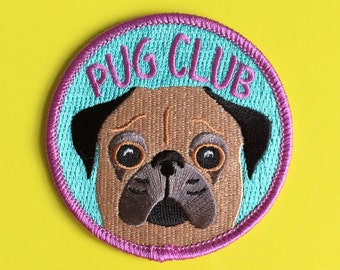 Pug Club Iron On Patch, Cute Dog Patch, Funny Pug Patch, Pug Face Patch, Stocking Filler, Puppy Patch, Embroidered Patch, Fun Patch Dog