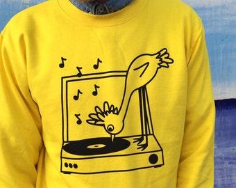 Record Vinyl Jumper, Music Sweater, Yellow Bird Jumper, Screenprinted Jumper, Record Player Print, Bird Print, Fun Bird Clothing