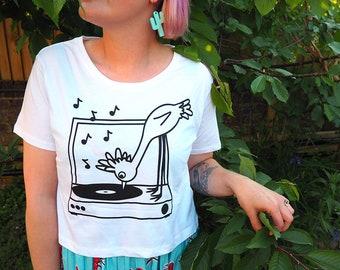 Record Player T-shirt, Cute Screenprinted Cropped Tee, Bird T-shirt, Women's Vinyl Tee, Fun Graphic Crop Top, hello DODO Ladies Crop Tshirt
