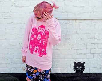 Cats Le Château Pink Sweatshirt, Screenprinted Jumper, Cat Lady Sweater, Neon Pink Sweater, Cute Cat Jumper, Kitten Sweater, Funny Cat Top