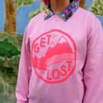 Get Lost Pink Jumper, Neon Pink Sweater, Cute Screenprinted Jumper, Adventure Sweater, Pink Mountain Sweater, Funny Ladies Jumper