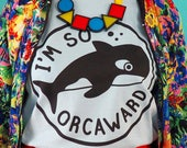 Orcaward T-shirt, Awkward Whale T-shirt, Orca Tee, Baby Blue Unisex T-shirt, Funny Animal T-shirt
