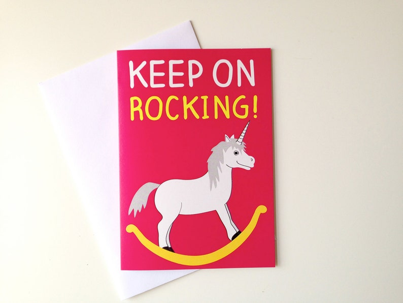 Unicorn Birthday Card Rocking Horse Cute