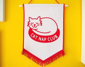 Cat Nap Club Pennant Flag, Wall Hanging, Kids Wall Art, Cat Wall Flag, Tired Wall Flag Sign, Cat Inspirational Banner
