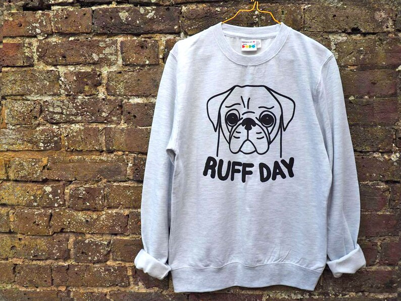 aeff6f62149d Pug Sweater Pug Jumper Pug Print Ruff Day Cute Dog | Etsy
