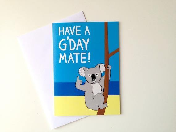 Koala Birthday Card Australian Aussie Bday