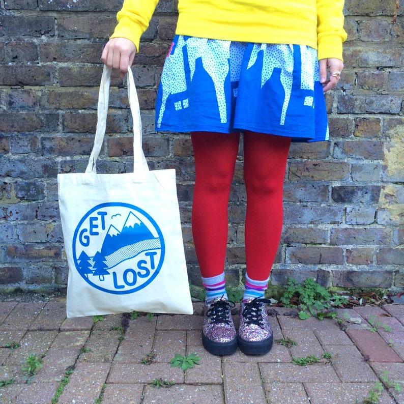 Get Lost Tote Bag Funny Tote Bag Adventure Print Mountain image 0