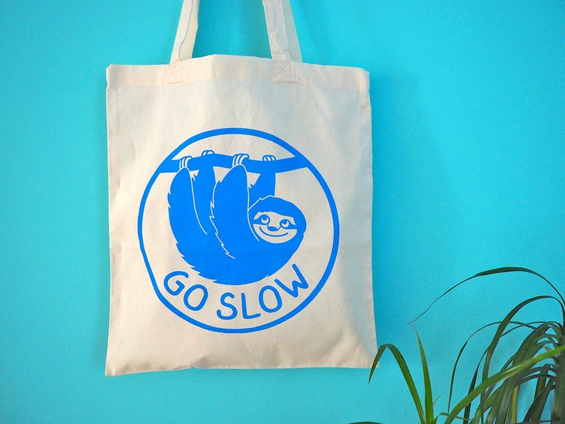 717c7dece Sloth Tote Bag Go Slow Tote Cute Canvas Shopper Bag For   Etsy
