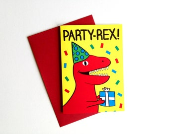 Party Rex Dinosaur Birthday Card, Funny Dinosaur Card, T-Rex Card, Cute Birthday Card, Boy Birthday Card, Jurassic Park Card, Fun Birthday