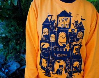 Cat Halloween Sweatshirt in Pumpkin Orange