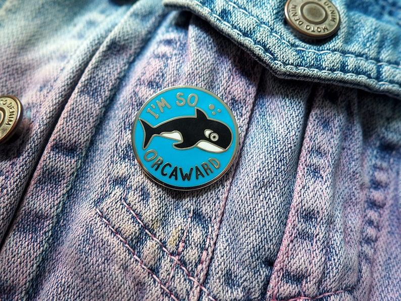 Orcaward Pin Whale Enamel Pins Awkward Pin Badge image 0