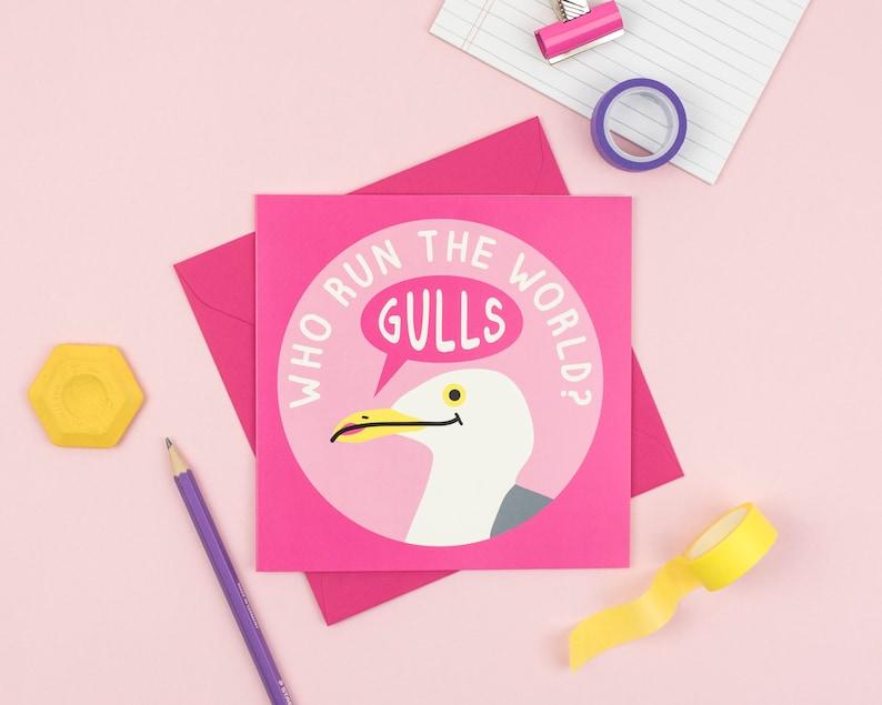 Seagull Birthday Card Feminist image 0