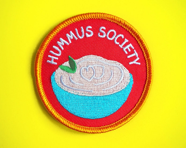 Hummus Society Patch, Hummus Patches, Houmous Iron On Patch, Food Patches,  Chips and Dips, Scout Badge, Vegan Patch, Vegan Iron On Patches